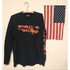 🔥VINTAGE 1990 2000 Harley Motorcycle Flame Shirt